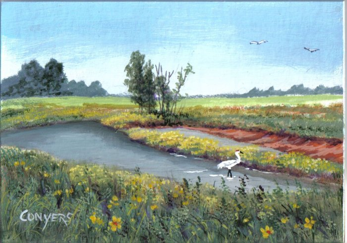 Farm Pond and Crane Painting
