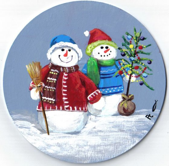Christmas snowmen painting for How to paint snowmen
