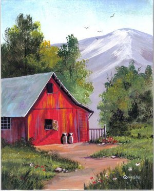 Okla Red Barn painting