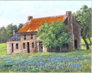 Texas Stone House and Bluebonnets