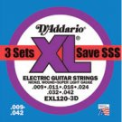 EXL120 Super Light Gauge Electric Guitar Strings 3 Pack