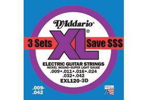 EXL120 Super Light Gauge Electric Guitar Strings 3 Pack