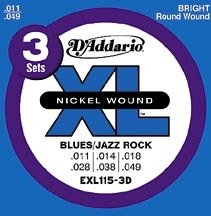 EXL115 Nickel-Blues/Jazz Rock Electric Guitar Strings 3 pack