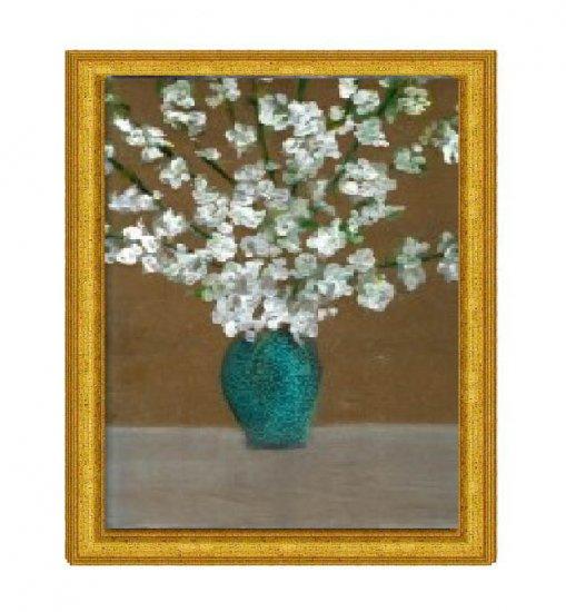 White Magnolias in Blue Vase