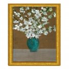 White Magnolias in Blue Vase