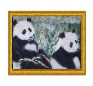 Pandas with Golden Bamboo