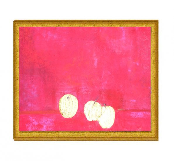 Three Gold Apples on Red