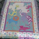 Cotton Child's Woven Animal Blanket - Giraffe Elephant Monkey