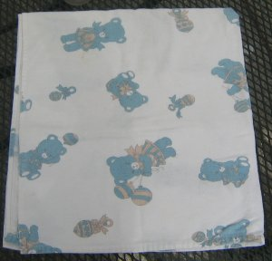 Blue Bear Flannel Summer Baby Receiving Blanket - 100% cotton - 34x32 inch