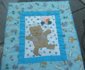 Blue Teddy Bear Quilt Blanket