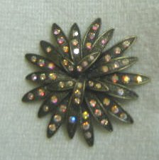 Rhinestone Flower Pin / Brooch - Bronze color - Costume Jewelry