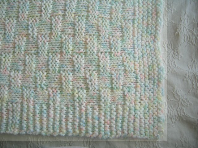 Thick 48x43 Handmade Knitted Pastel Baby Blanket Handcrafted