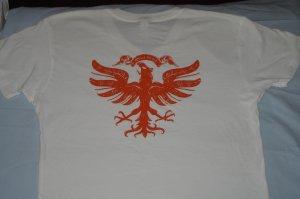 Quiet Grind White V-Neck QG Logo and Vintage Eagle Design
