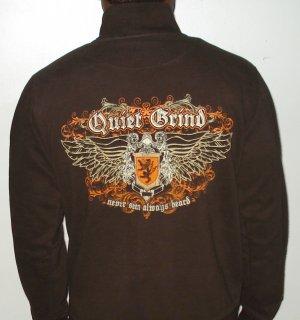 Quiet Grind Brown Track Jacket QG Cursive Logo and Wing Q Design