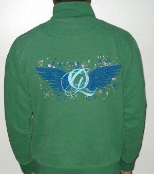 Quiet Grind Felt Green Track Jacket QG Cursive Logo and Wing Q Design