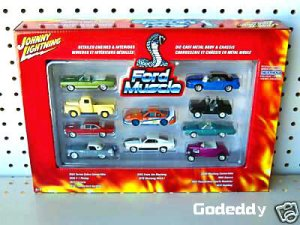 JOHNNY LIGHTNING FORD MUSCLE SET WITH Rare Black Bronco & WHITE LIGHTNING!