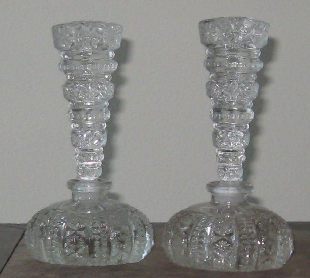 set of molded crytal perfume bottles