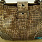 Charlie Lapson croco embossed leather designer handbag