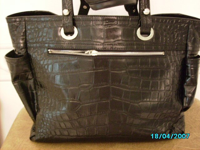 Beautiful high end croco embossed leather designer tote