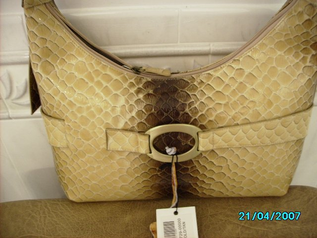 Charlie Lapson Designer croc embossed leather handbag