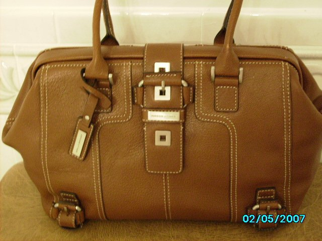 Adrienne Vittedini Designer pebbled leather golden brown frame bag