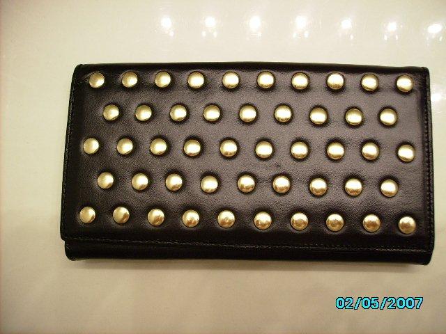 The Find Designer soft black leather studded clutch wallet