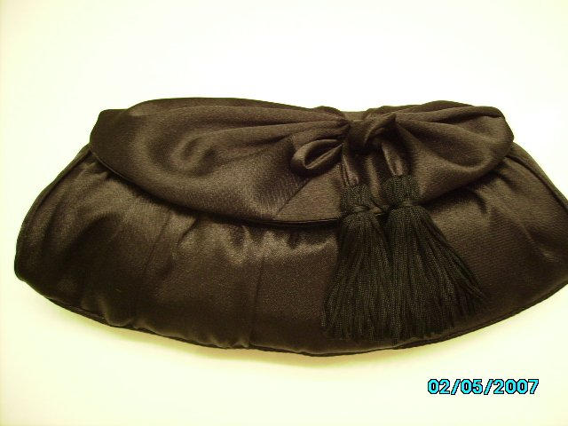 Small black satin evening clutch