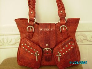The Find croco embossed leather designer handbag