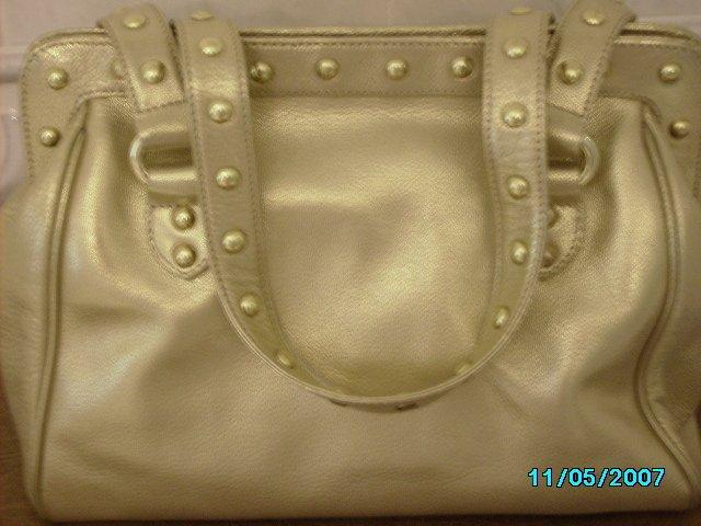 Carlos Falchi designer goatskin leather frame bag.