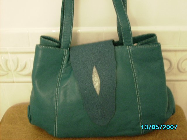 Carlos Falchi designer leather and stingray bag