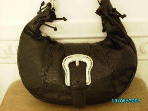 Carlos Falchi designer black leather textured bag