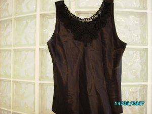 Black satin and lace cami