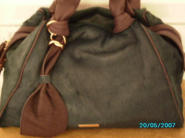 Sharon Gioe limited edition calves hair leather designer satchel