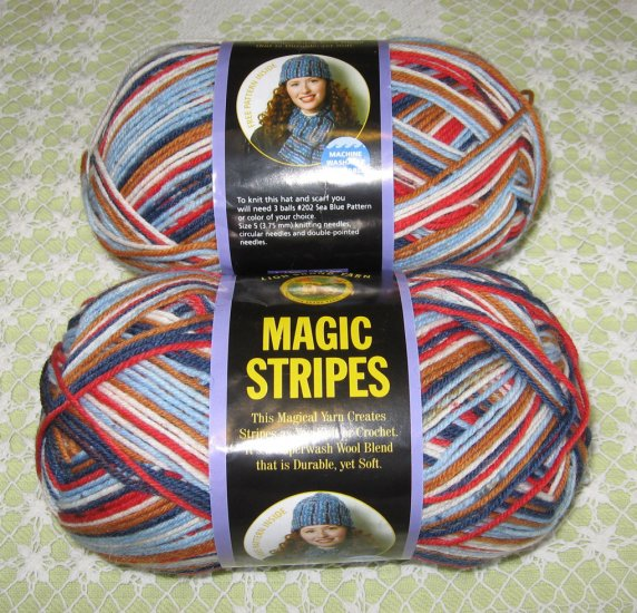 "2 Skeins Lion Brand Magic Stripes ""Denim Stripe"" Yarn + Free Gift!"