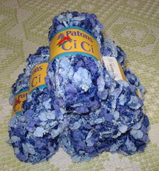 """$36 Lot--6 Skeins Patons Ci Ci """"Brazil Blue"""" Yarn + Free Gift!"""