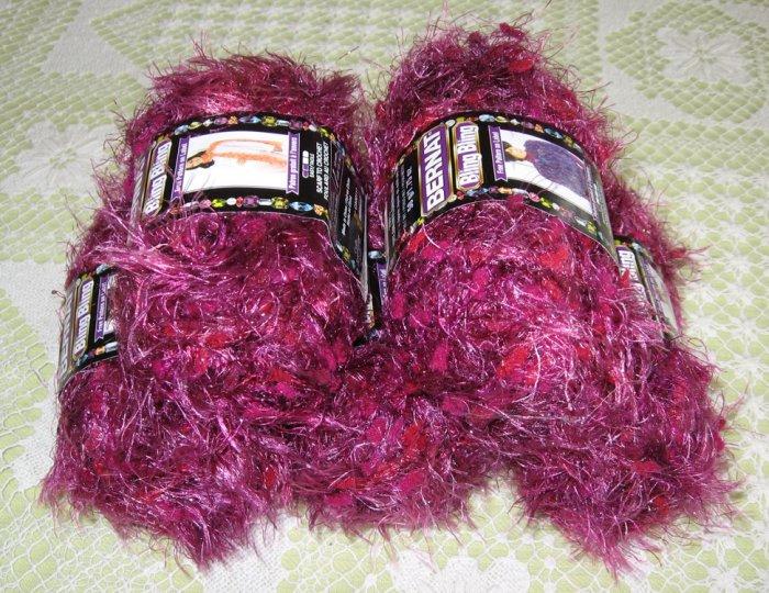 """$25 Lot--5 Skeins Bling Bling """"Cabaret Crimson"""" Yarn + Free Gift!"""