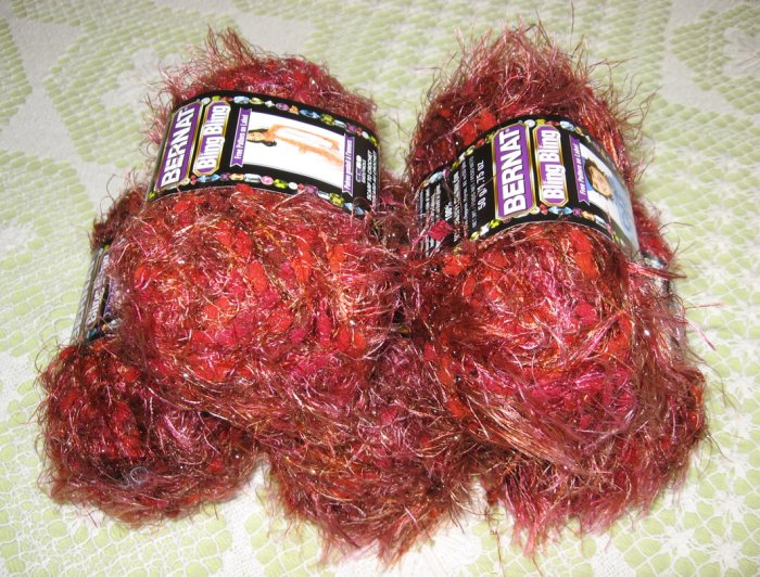 "$25 Lot--5 Skeins Bling Bling ""Moulin Rouge"" Yarn + Free Gift!"