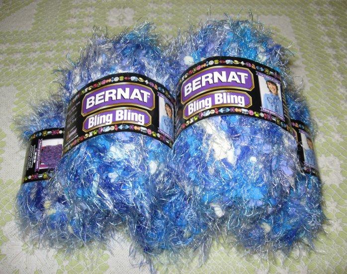 "$25 Lot--5 Skeins Bling Bling ""Brilliant Blue"" Yarn + Free Gift!"