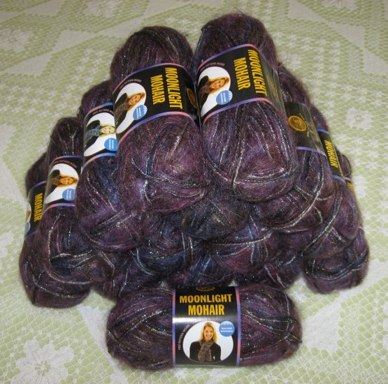 "$135 Lot--15 Skeins Moonlight Mohair ""Purple Mountains"" + Free Gift!"