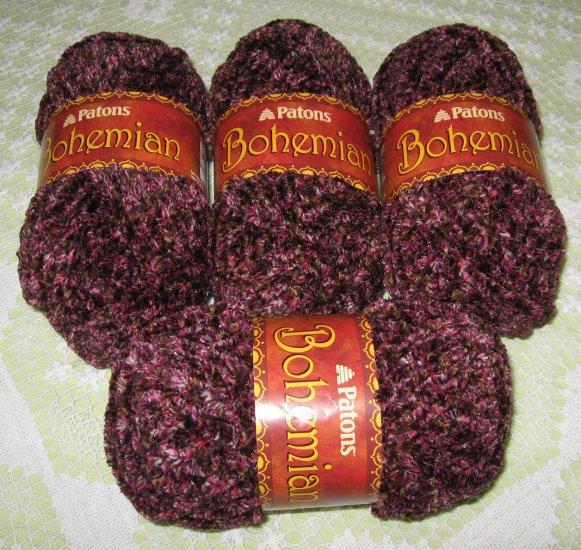 """$28 Lot--4 Skeins Bohemian """"Wandering Wines"""" Yarn + Free Gift!"""