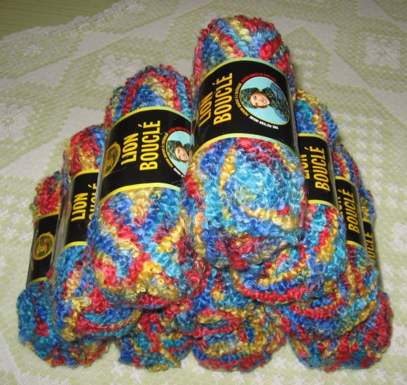 "$50 Lot--10 Skeins Lion Boucle ""Jelly Bean"" Yarn + Free Gift!"