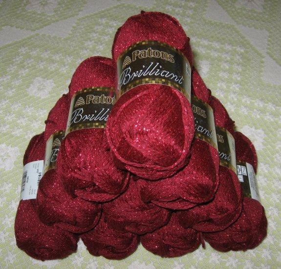 "$40 Lot--8 Skeins Brilliant ""Beautiful Burgundy"" Yarn + Free Gift!"