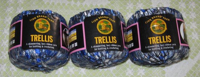 "$18 Lot--3 Skeins Lion Brand Trellis ""Ocean"" Yarn + Free Gift!"