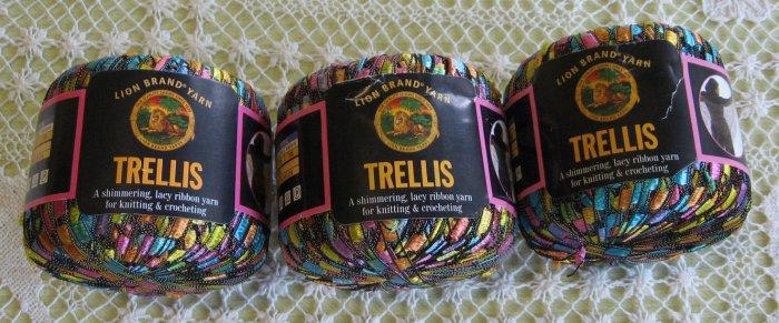 """$18 Lot--3 Skeins Lion Brand Trellis """"Pastel Garden"""" Yarn + Free Gift!"""