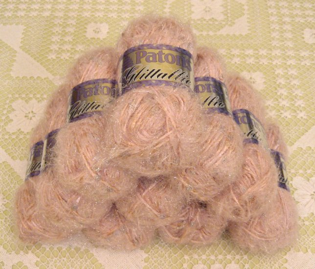 "$70 Lot--10 Skeins Glittallic ""Rose Glow"" Yarn + Free Gift!"