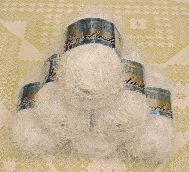 "$39 Lot--6 Skeins Silverlash ""Ice White"" Yarn + Free Gift!"