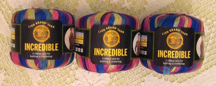 "$18 Lot--3 Skeins Lion Brand Incredible ""Carnival"" Yarn + Free Gift!"