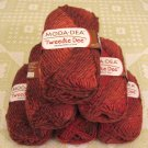"$52 Lot--6 Skeins Moda Dea Tweedle Dee ""Fireside"" Yarn + Free Gift!"