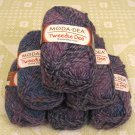 "$52 Lot--6 Skeins Moda Dea Tweedle Dee ""Blue Heather"" Yarn + Free Gift!"