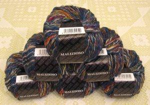 """$54 Lot--6 Skeins Filatura Di Crosa Malizioso """"9 Blue Multi"""" Yarn + Free Gift!"""